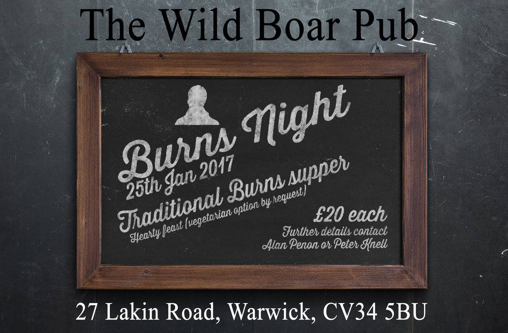 burns night at the wild boar pub