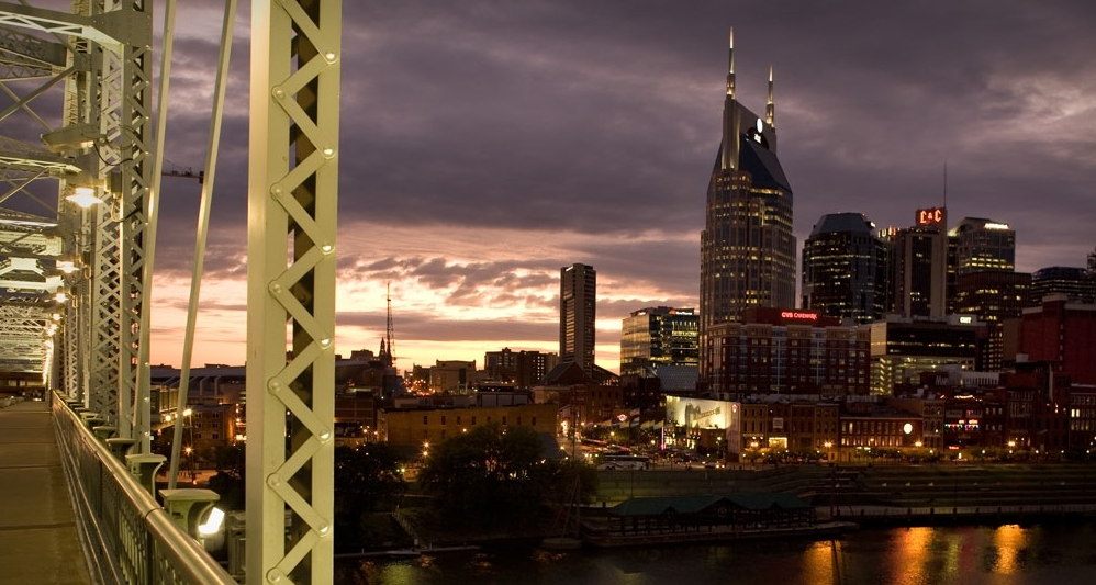 The Nashville Skyline as seen from the John Seigenthaler Pedestrian Bridge