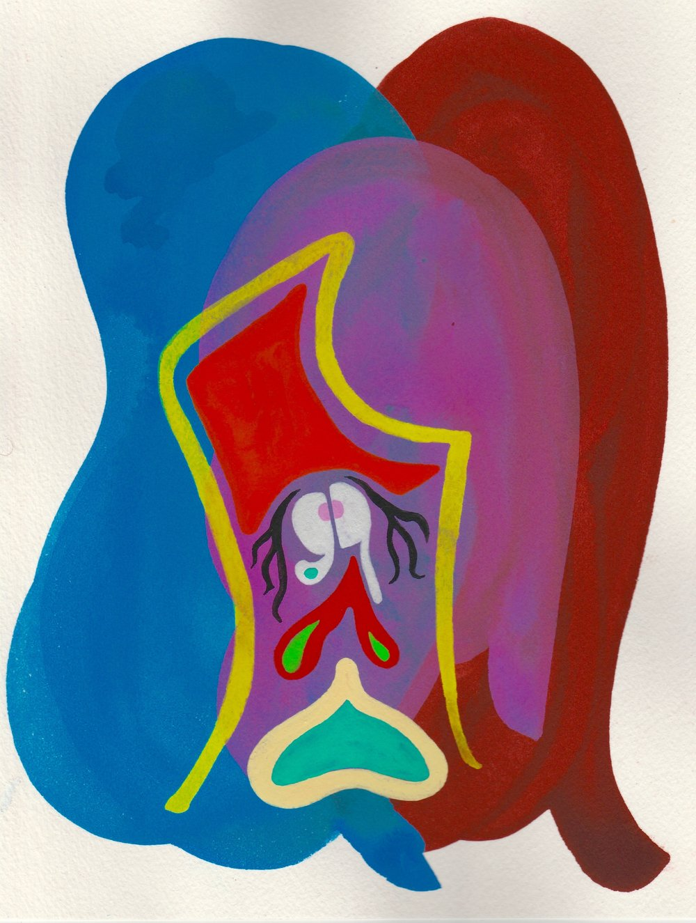 FaceTime #4   2017  Watercolor, Guache  8.5 x 11 inches
