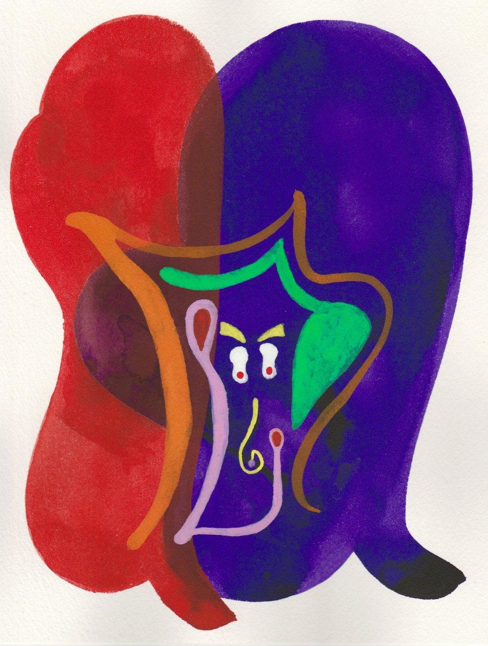 FaceTime #5   2017  Watercolor, Guache  8.5 x 11 inches