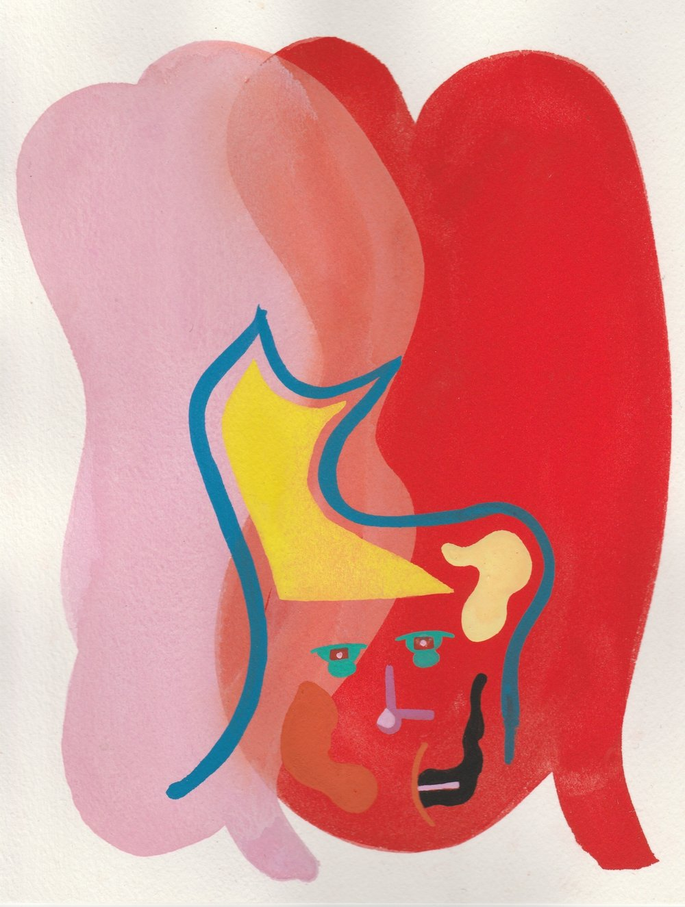 FaceTime #6   2017  Watercolor, Guache  8.5 x 11 inches
