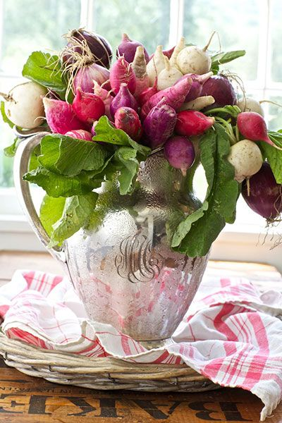 http://nehomemag.com/blog/creating-lush-vegetable-bouquets
