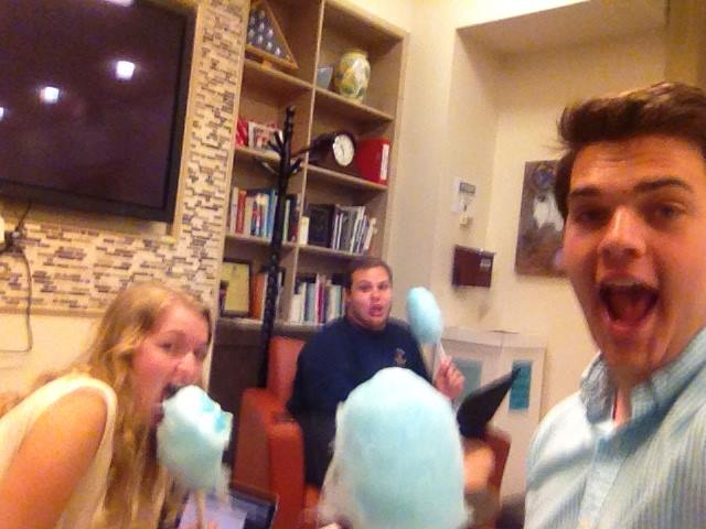 Crenushe Vice Presidential Candidate Chris Fisk, along with former Crenushe campaign adviser Reed Howard, and current Crenushe campaign Co-director for Policy Olivia Hinerfeld eating blueberry-flavored cotton candy.