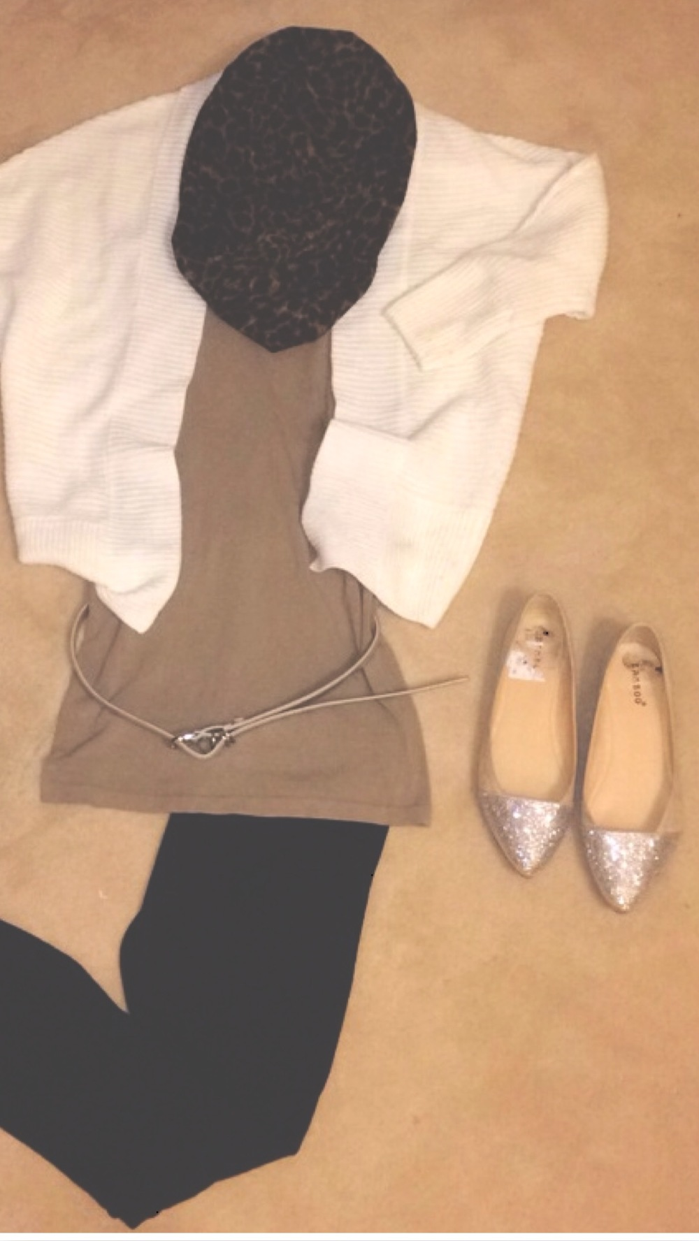 matte black leggings + camel tunic with cream boyfriend cardigan + scarf + pointed embellished flats