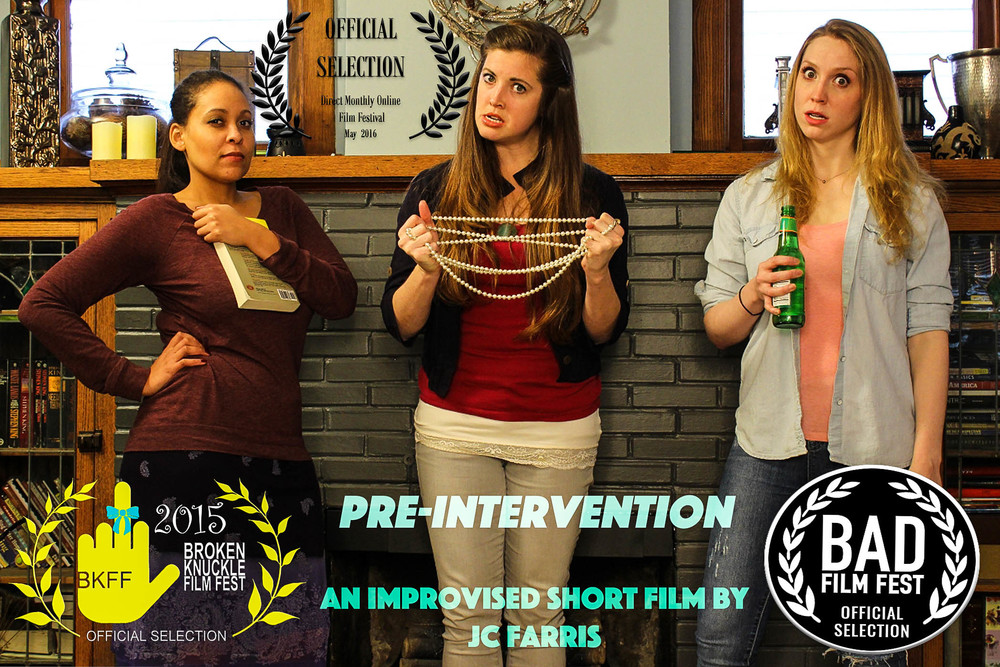 "Due to the great team work and colabration of this short film, ""Pre-Intervention"", was entered into film contests and was viewed/screened! We would like to that Director: JC Farris for doing such a wonderful job and all our crew members as well! Last but not least our wonderful and talented cast!"