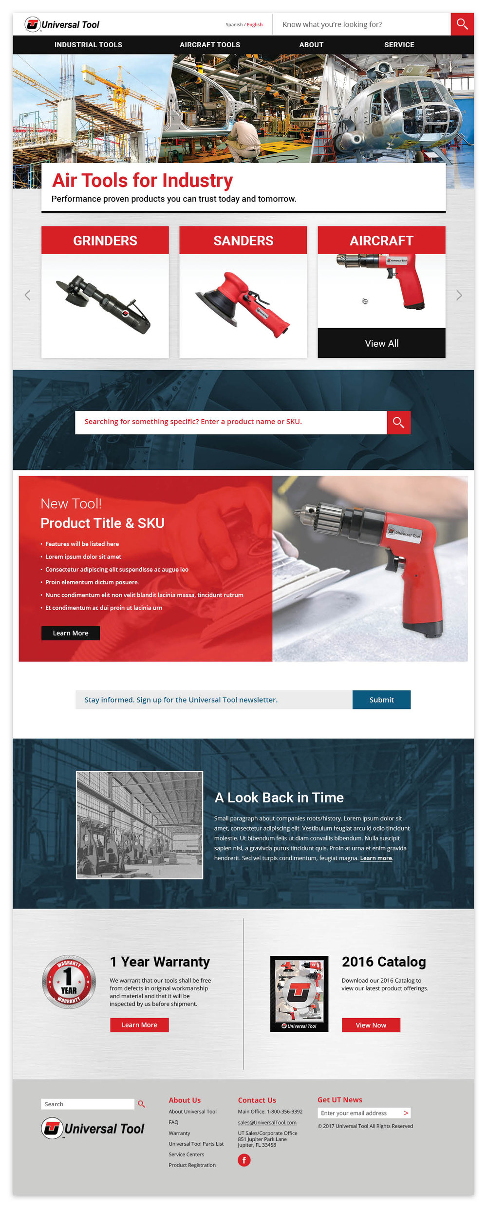 Universal Tool Homepage (some text/images still FPO as site is not yet complete)