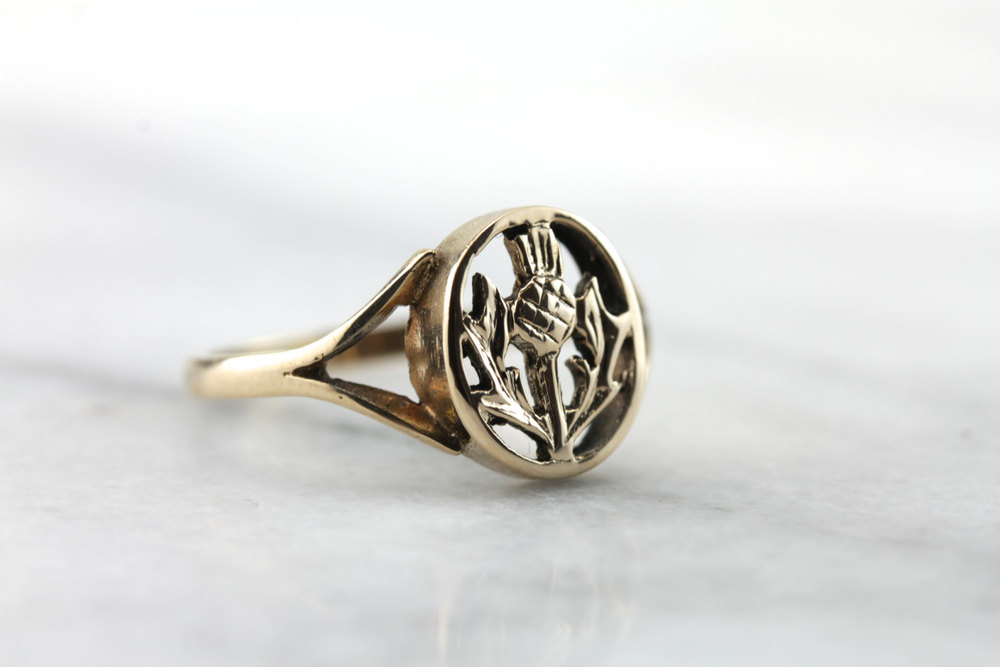 Vintage Scottish Thistle Signet | Vintage & Ethical Signet Rings | Keeper & Co. Blog