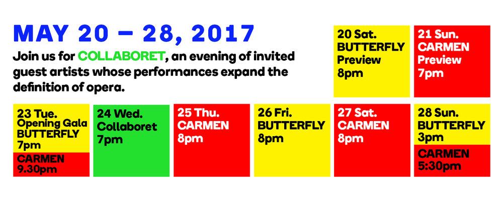 Heartbeat Opera Spring Festival 2017 Calendar - Carmen, Butterfly, Collaboret