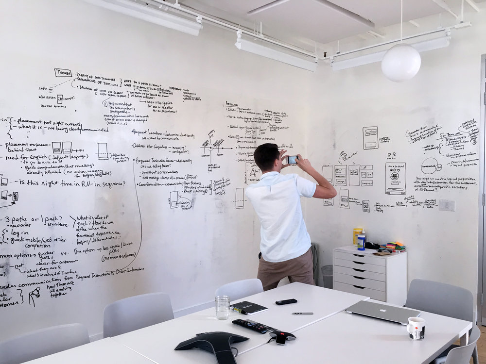 In this case, we did a design exploration around Payment implications on the Pull-In Screen. Here Eli is documenting our whiteboard sketches/thinking.