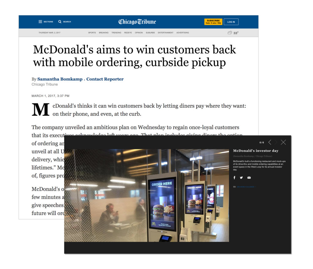"The Kiosk was presented to investors in a ""Gallery Walk"" at McDonald's operational prototyping restaurant."