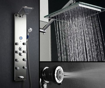 Massage and waterfall shower head