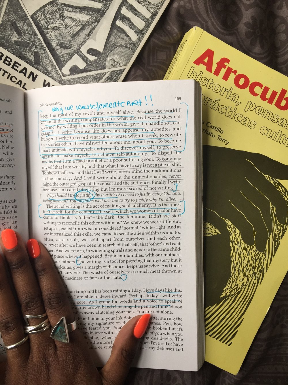 An excerpt and notes of Aliyah's copy of  This Bridge Called by Back: Writing by Radical Women of Color