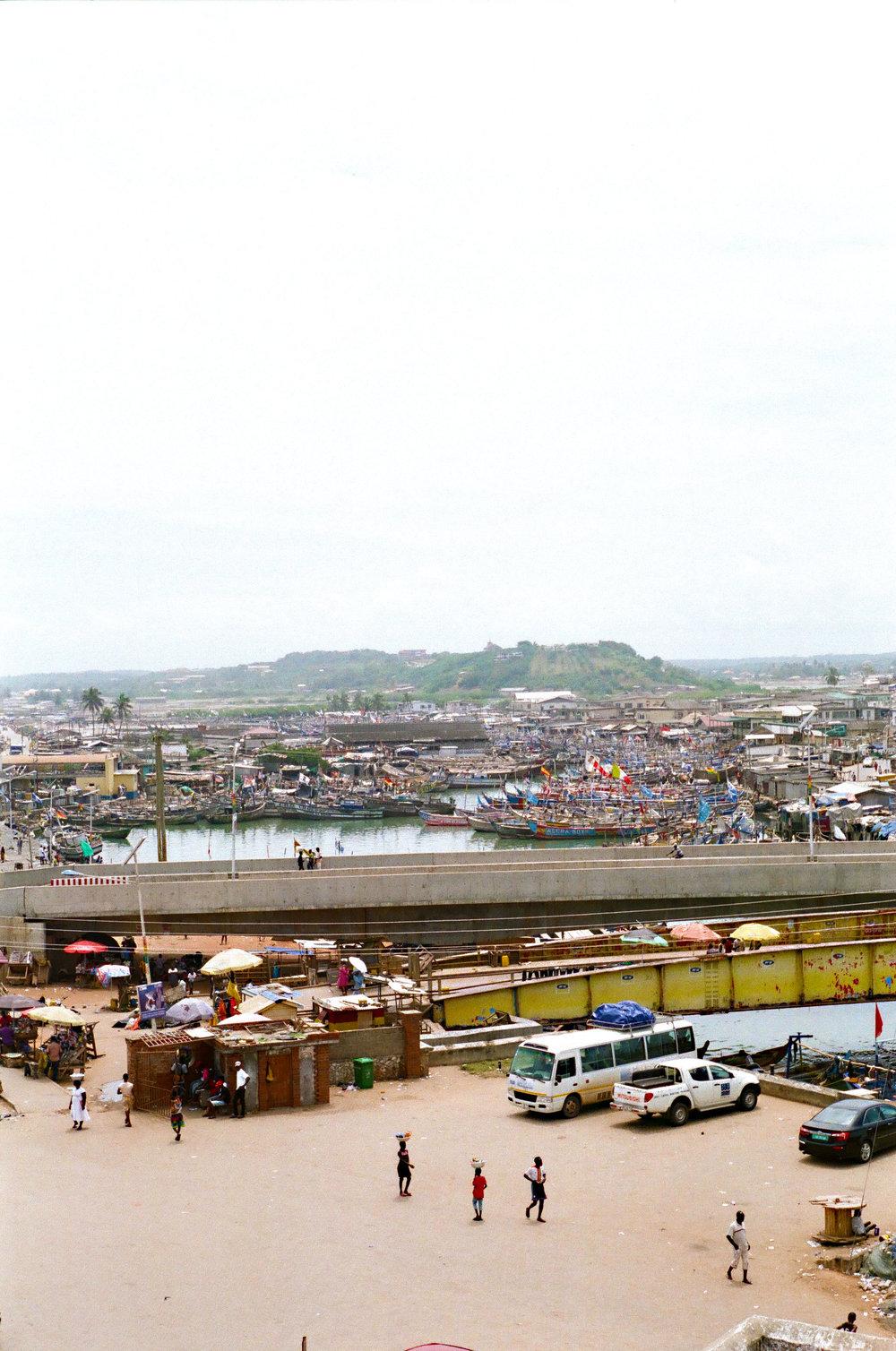 View of Elmina, Ghana from the top of Elmina Castle.
