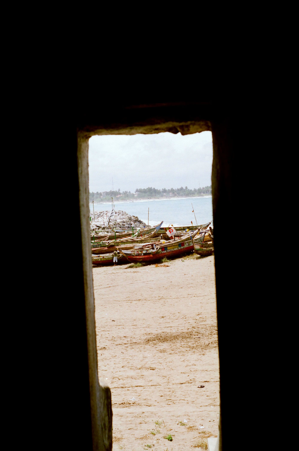 """View of from the """"Door of No Return"""", where slaves exited the castle and were packed onto ships."""