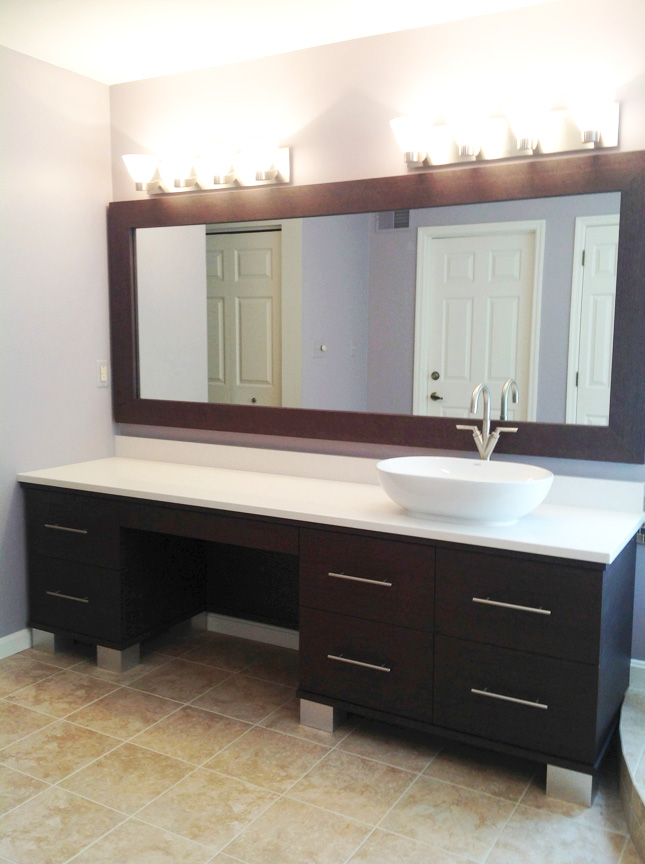17' long bathroom vanity with quartz top and stainless steel pulls