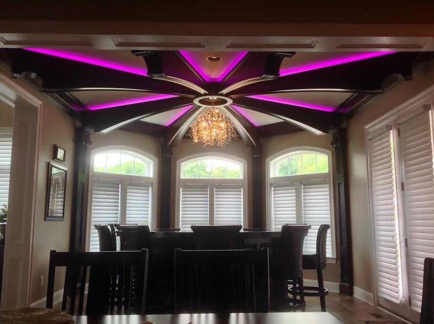 custom made residential bar and ceiling with RGB lighting