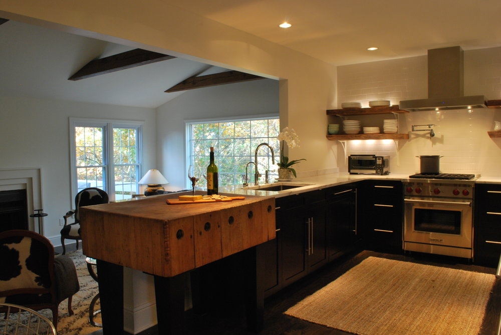transitional kitchen with antique butcher block