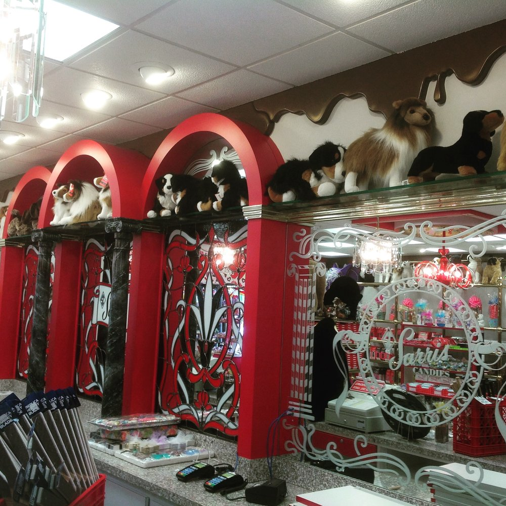 chocolate drips on the walls at Sarris Candy Store