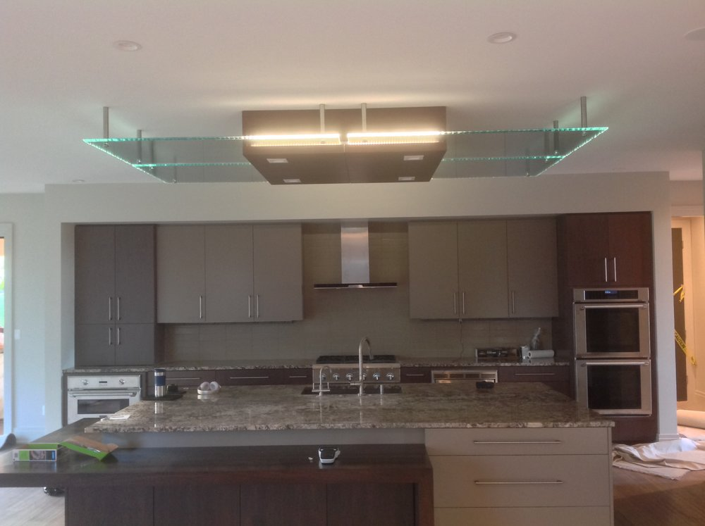 custom made kitchen island glass ceiling fixture