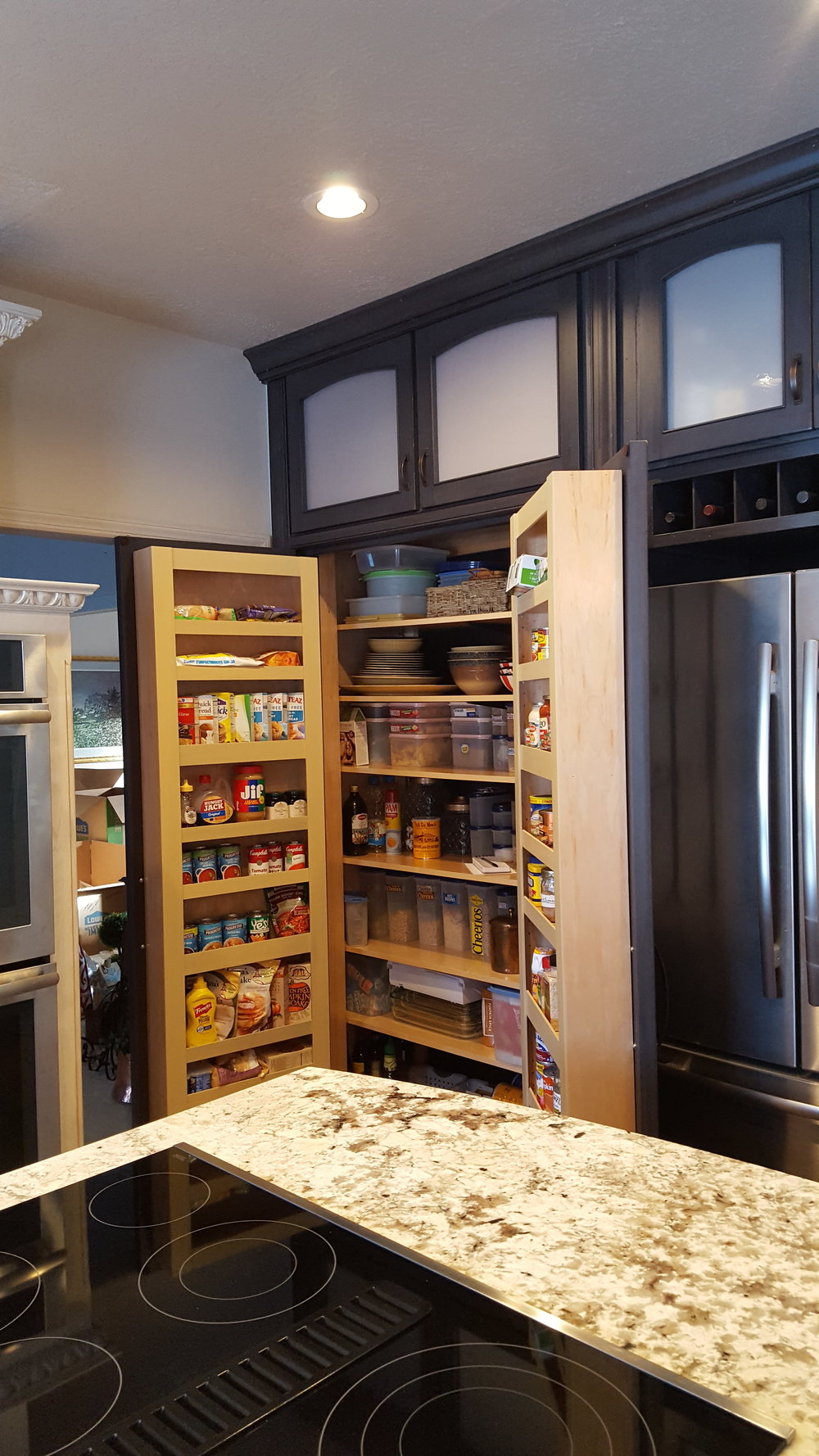 custom made interior storage on pantry doors