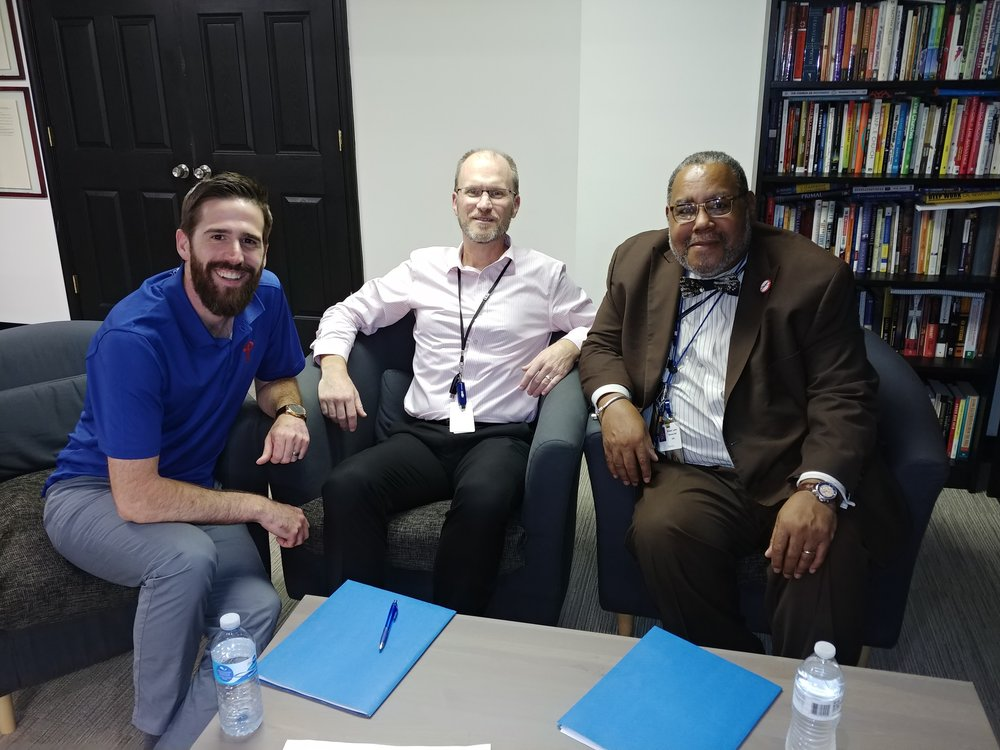 Pastor Jeff, John Carlson (Executive Director of Transformation to Recovery), and Roland Lamb (Deputy Commissioner of DBHIDS)
