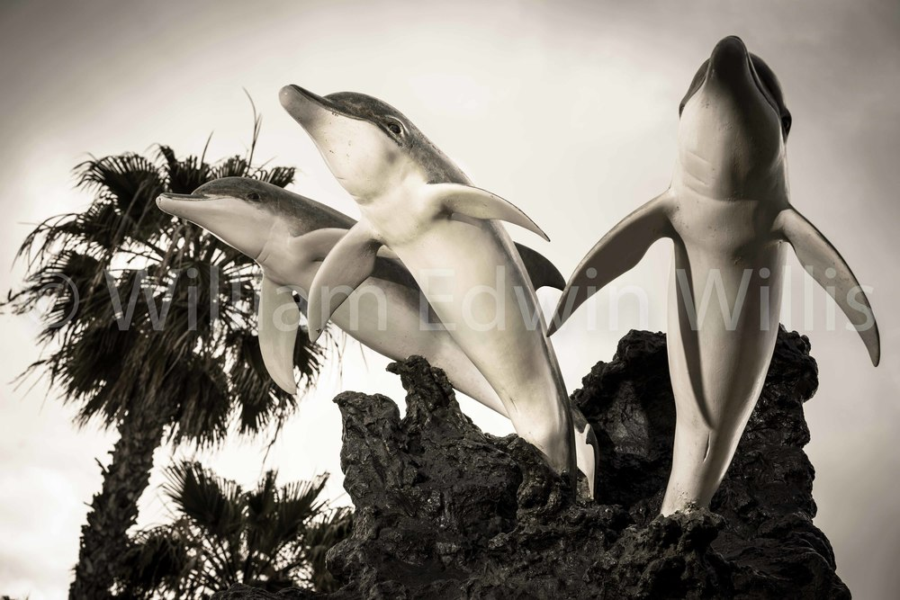 Three Dolphins Statue, Barrels Restaurant, IB