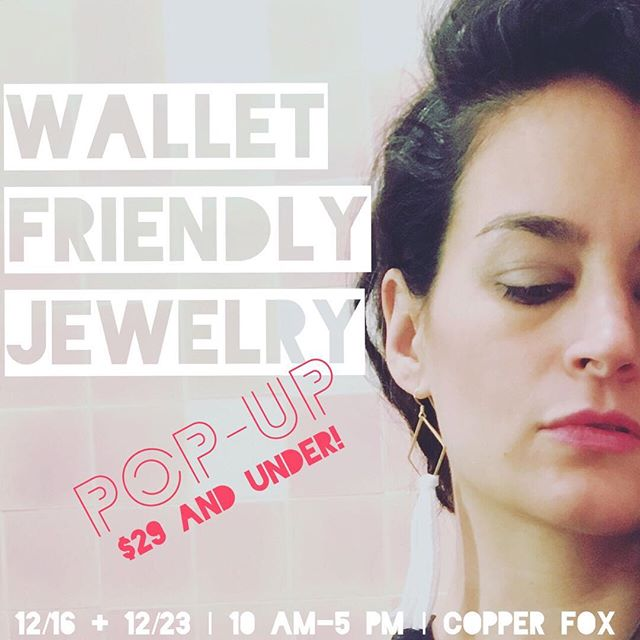 Come to @copperfoxshop_troy on 12/16 and 12/23 from 10-5 for our Wallet Friendly Jewelry Pop-up! All items will be $29 and under, including the earrings here. Chokers, necklace sets, LOTS of earrings, and maybe even some bracelets will be fair game for your last-minute gift needs... (or a guilt-free treat for yourself!) 🎁