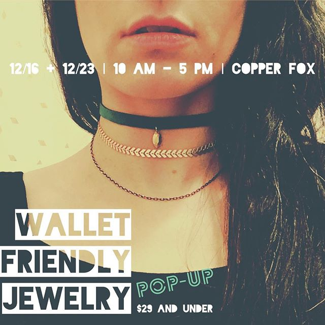 Come to @copperfoxshop_troy on 12/16 and 12/23 from 10-5 for our Wallet Friendly Jewelry Pop-up! All items will be $29 and under, including the chokers shown here. It's just the ticket for your last-minute gift needs... (or a guilt-free treat for yourself!) 🎁 . . . #fashion #handmade #shopsmall #shoplocal #jewelry #accessories #holidayshopping #necklace #choker #enjoytroy #troyny