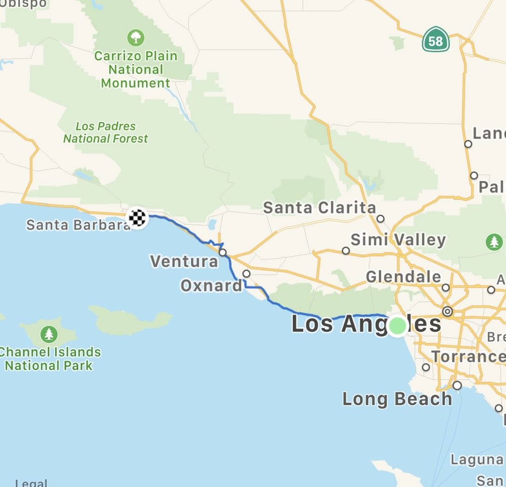Route from Venice to Santa Barbara. Video Below