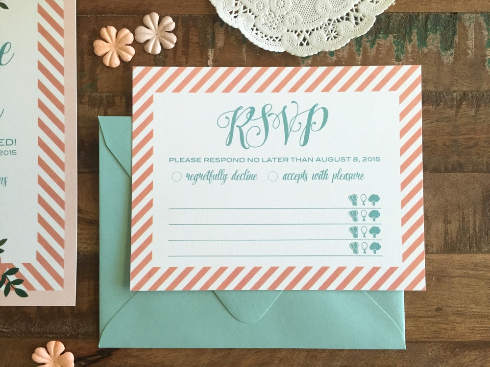 "RSVP - Size: A2 (4.25"" x 5.5""), the flat card features the same striped border and matching envelope. Food icons add to the quirky style of the suite"