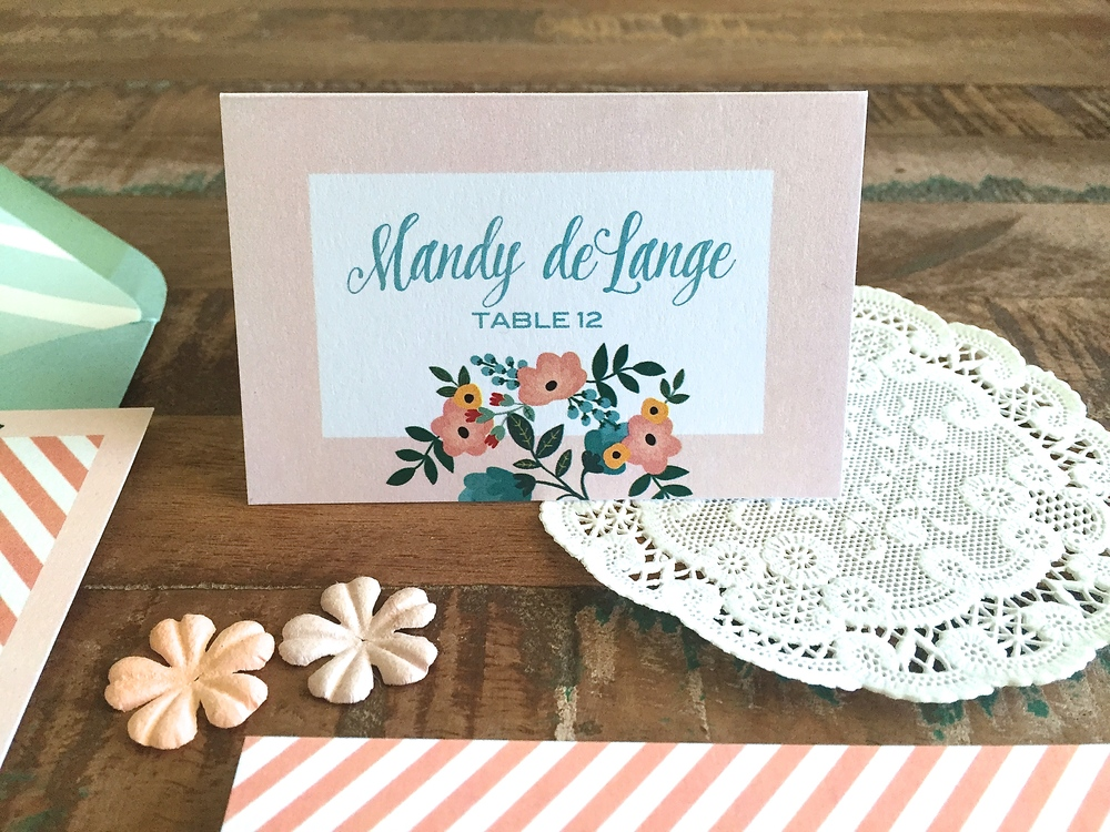 "PLACE CARD - Size: 4bar folded (3.5"" x 4 7/8""), simplified the design by removing the striped border, included the floral design for consistency"