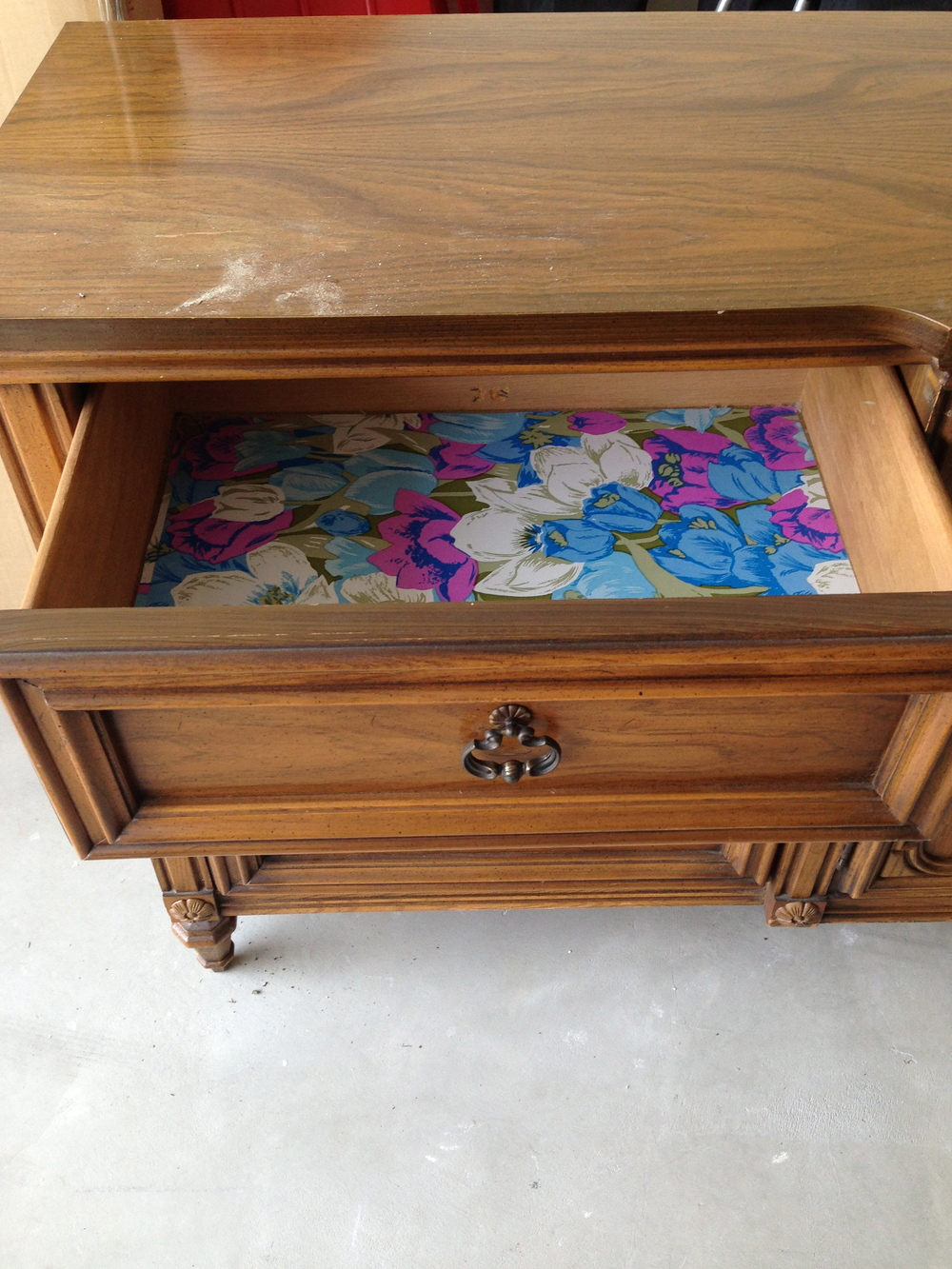 The left side of the dresser had 3 small drawers