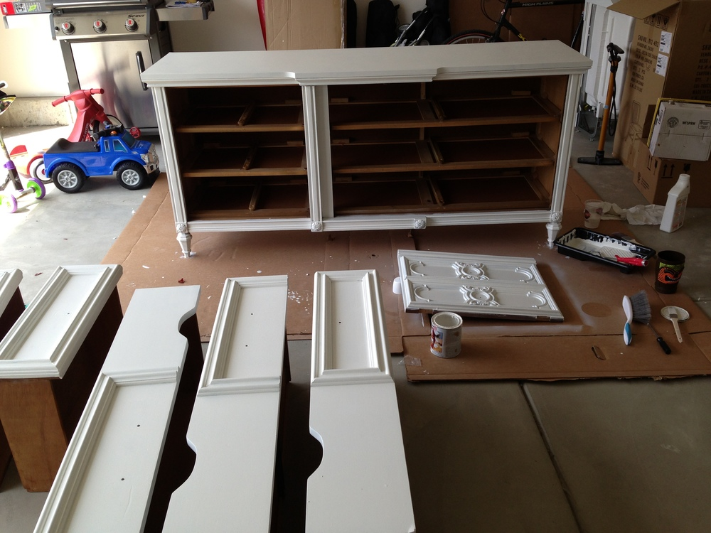 All of the drawers and cabinets were primed as well