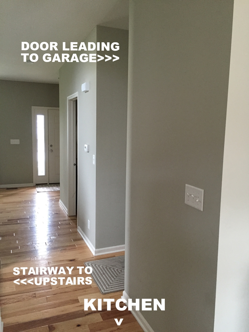 This blank wall was the perfect spot for our project. It's right around the corner from the garage (which is our most commonly used entrance), it's right at the bottom of the stairway to the second floor, and it's on the way to the kitchen - the heart of our home.