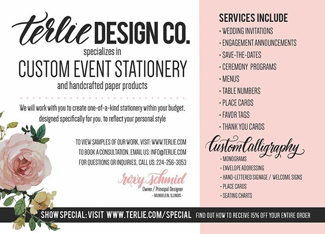If you were an attendee at last night's @bridalexpochicago, you have until MIDNIGHT (cst) to book a consultation and receive 15% off your entire Terlie Design Co. order! #showspecial #weddingplanning #weddingstationery #weddinginvitations #weddingseason2017