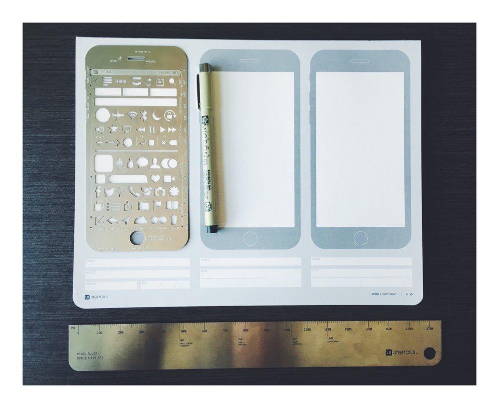 iOS Stencil, iOS Sketch Pad, Pixel Ruler, Micron 0.5