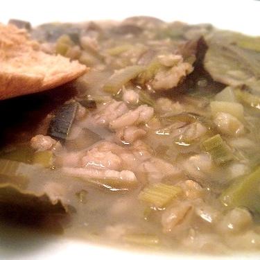 Mushroom Barley Soup: $10/qt