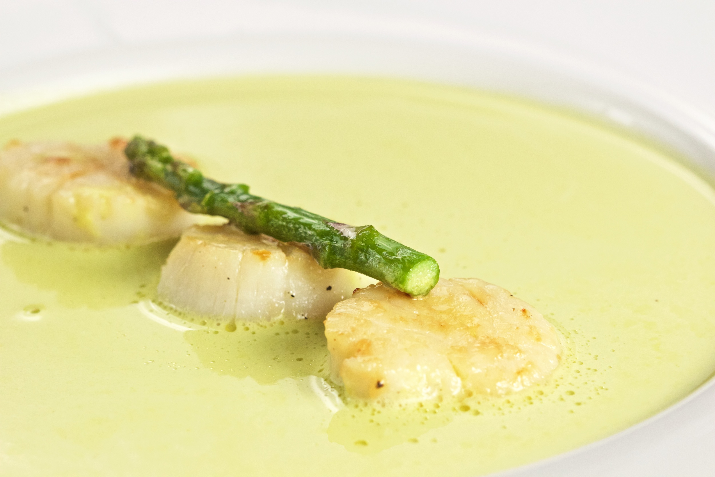 cream of asparagus soup with seared scallops - Asparagas Soup