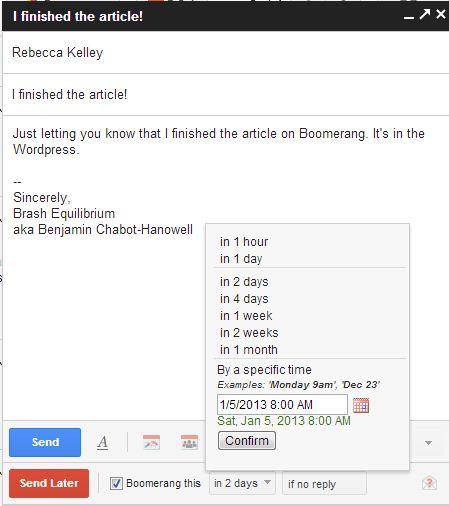 Boomerang sent screenshot