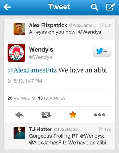 Oh, Wendy's.