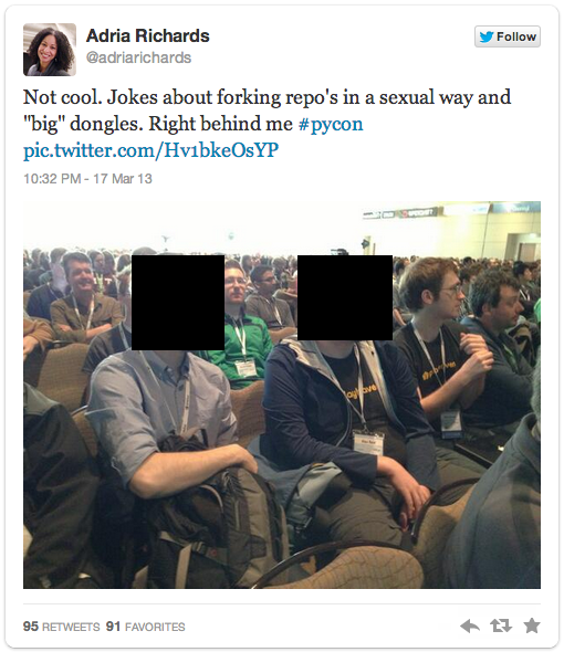 Richards' tweet (with the eavesdropped attendees' faces obscured)