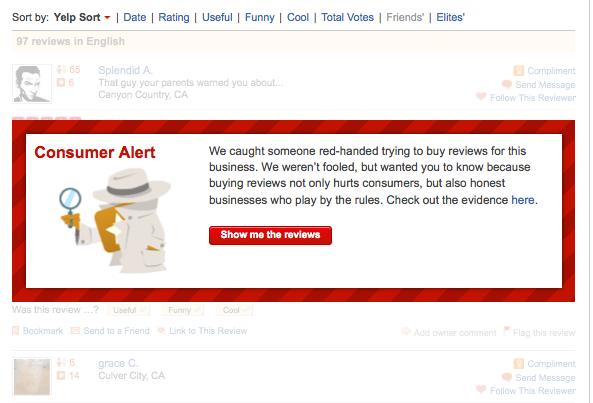 yelp fake reviews consumer alert