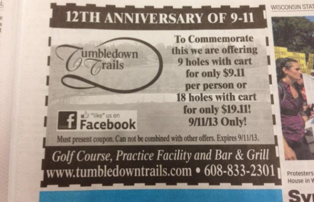 tumbledown trails golf course offensive marketing 9/11 ad