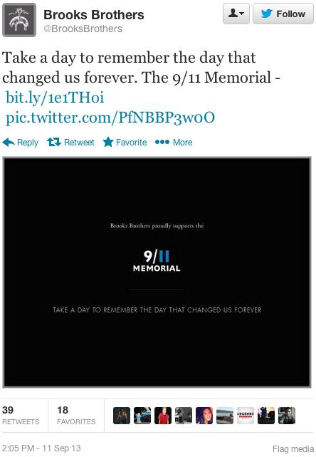brooks brothers 911 memorial