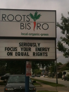 equal rights sign roots bistro houston