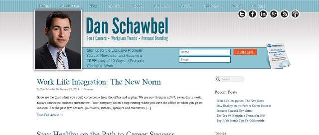 promote yourself blog with dan schawbel screen shot best blogs for building your online brand