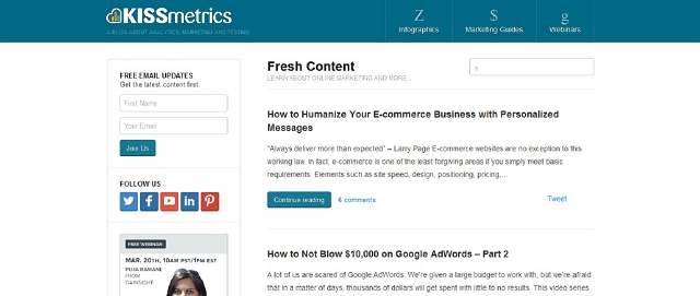 KISSmetrics analytics and marketing blog screen shot best blogs for building your online brand