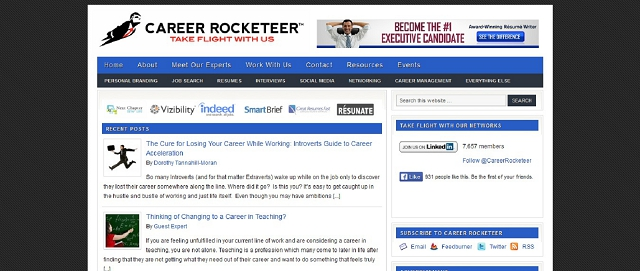 career rocketeer personal branding blog screen shot best blogs for building your online brand