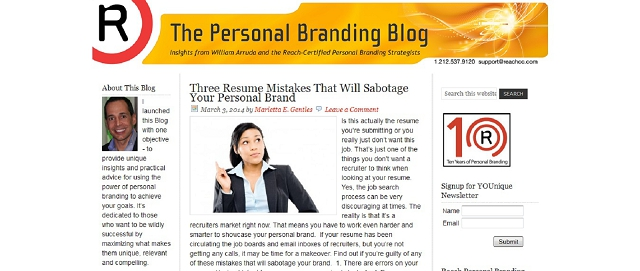 the personal branding blog screen shot best blogs for building your online brand