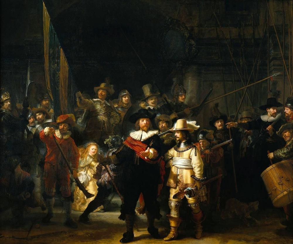 "Rembrandt's NightWatch 1642. Oil con canvas, 363 x 438 cm. Rijksmuseum Amsterdam: ""  I am the shield that guards the realms of men. I pledge my life and honor to the Night's Watch, for this night and all the nights to come. "" - The Night's Watch oath"